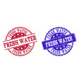 grunge scratched fresh water seal stamps vector image vector image