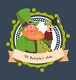 happy st patricks day emblem label with vector image