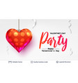holiday party text and red heart on white vector image vector image