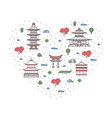 i love japan poster in linear style vector image