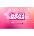 inscription love cut on a pink background vector image vector image