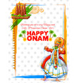 kathakali dancer on background for happy onam vector image vector image