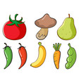 large set fruits and vegetables on white vector image vector image
