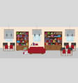 library detailed interior in flat style vector image vector image