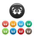 light butterfly icons set color vector image vector image