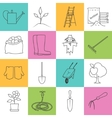 Line Colorful Icons Gardening Equipment vector image
