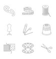 machine sewing scissors and other sewing vector image vector image