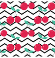 pattern with cute cherries on stripes vector image vector image