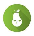 pear cute kawaii flat design long shadow glyph vector image