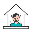 person with covid19 symptom stay at home vector image vector image