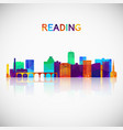 reading skyline silhouette in colorful geometric vector image vector image