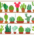 seamless pattern of cactuses and succulents vector image