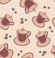 Seamless pattern with coffee cups and beans vector image vector image