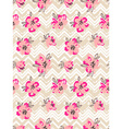 Seamless pattern with pink flowers on the zig zag vector image