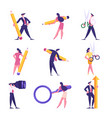 set businesspeople with different stationery vector image vector image