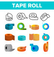 sticky tape rolls color icons set