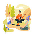 summer camp bonfire with people tourists vector image vector image