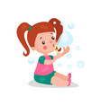 sweet cartoon redhead little girl sitting on the vector image vector image