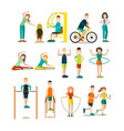 training outside people flat icon set vector image