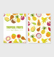 tropical fruits sweet vitamins card template with vector image vector image