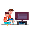 two children boy play a video game vector image vector image