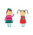 two school age girls think about some question and vector image vector image
