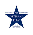 veterans day emblem in the form of a blue star vector image