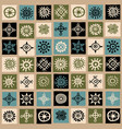 vintage ethnic background with squares and sun vector image vector image