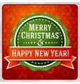 Vintage stylized green Merry Christmas and Happy vector image