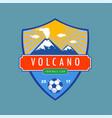 volcano badge vector image vector image