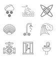 water activity icons set outline style vector image