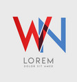 wn logo letters with blue and red gradation vector image vector image