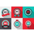 100 Satisfaction Quality Label Set in Flat vector image