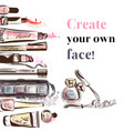 beauty and fashion watercolor cosmetics make up vector image