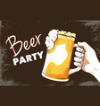 beer party hand drawn banner vector image vector image