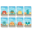 Building city information cards set Architecture vector image vector image