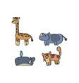 cartoon animal giraffe rhino whale cat tiger vector image vector image