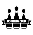 classic bowling club logo simple style vector image