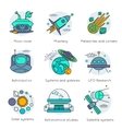 Colored Space Universe Line Icon Set vector image vector image