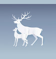 deer and fawn with full side view on grey vector image