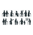 elderly people symbols old persons stylized vector image