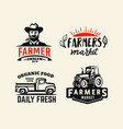 farm black stickers with farmer and tractor vector image