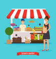 farmers market woman holds paper bag vector image vector image