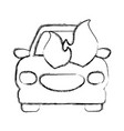 figure car burning and danger emergency accident vector image vector image