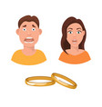 flat marriage fear and vector image vector image