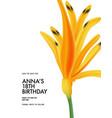 flower summer birthday template card hawaiian vector image