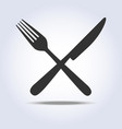 fork knife sign simple icon in gray colors vector image vector image