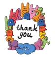 frame of monsters with words thank you Funny vector image