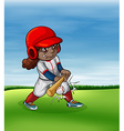 Girl playing baseball outdoor vector image vector image