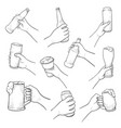 hands with beer sketch set isolated from vector image vector image